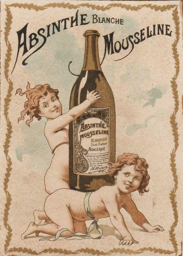 Partie centrale de document publicitaire pour l'Absinthe Mousseline. Coll. Delahaye.