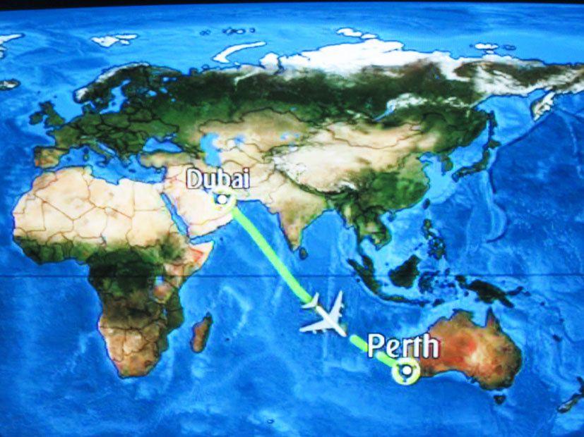 Trajet depuis Dubaï vers l'Australie. Capture d'écran. Ph. Delahaye.