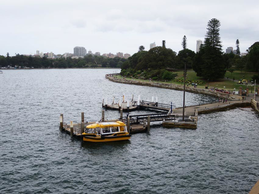 Le jardin botanique vu de l'opéra. À observer le taxi jaune dans la baie. Ph. Delahaye.