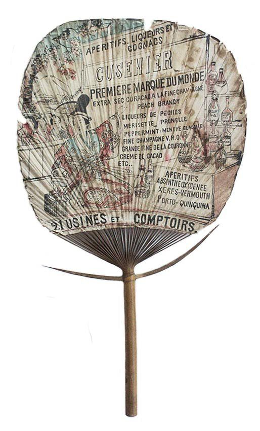 Éventail marqué Absinthe Cusenier Oxygénée ce qui le situe après 1894. Coll. privée.