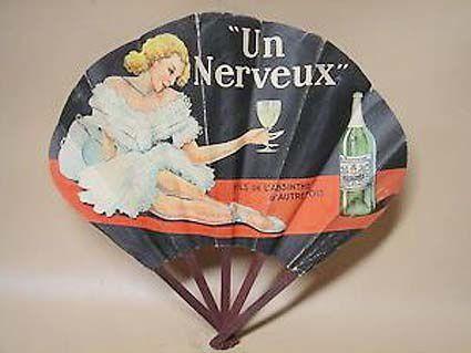 """Éventail plié, 1933.  Avec la publicité """"Fils de l'absinthe d'autrefois"""". Coll. privée."""