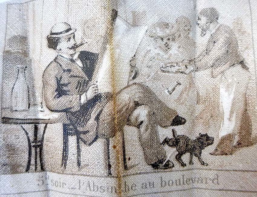 Détail : 5h soir. L'Absinthe au boulevard. Le garçon renverse son plateau pendant que le chien se soulage sur la chaussure du monsieur ! Coll. Thuillier.
