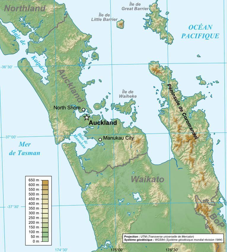Situation de la ville d'Auckland. Ph. Wikipedia.