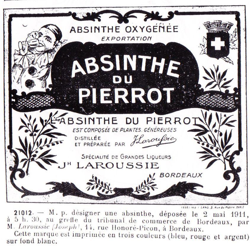 Étiquette de Absinthe du Pierrot déposée en 1911 à Bordeaux par Joseph Laroussie. Doc. Delahaye.