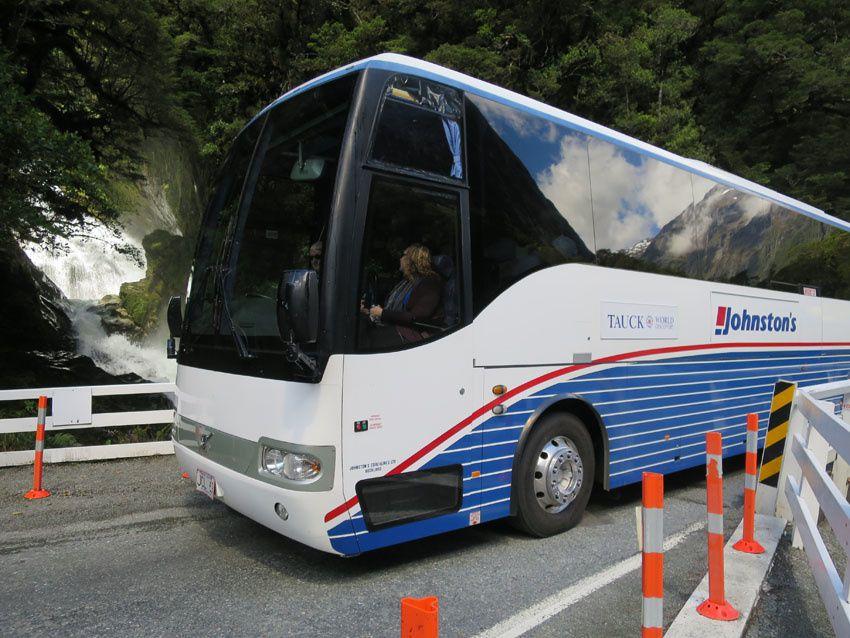 Le bus Tauck en Nouvelle-Zélande. Ph. Delahaye.