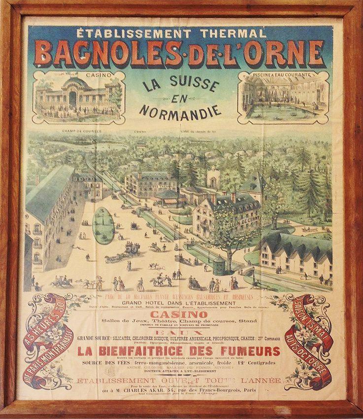 Affiche faisant la promotion des Thermes de Bagnoles de l'Orne. Ph. Delahaye.
