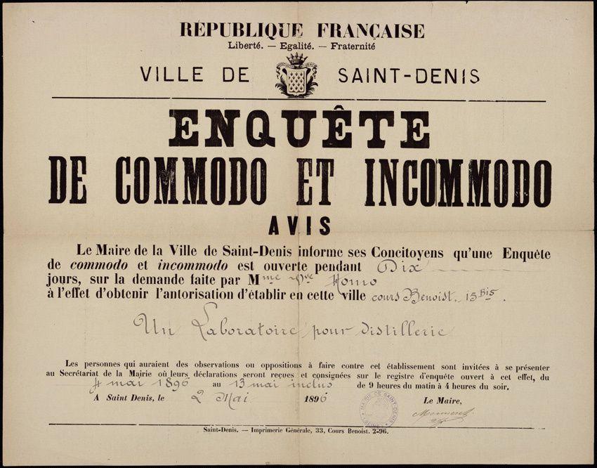 Archive de la ville de Saint-Denis, cote 25 Fi 438.