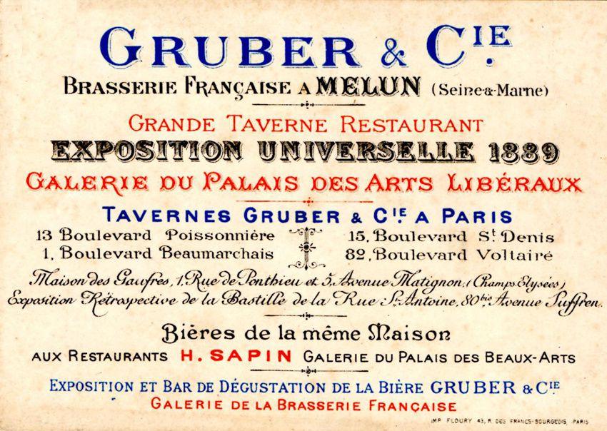 Gruber & Cie à l'Exposition universelle de 1889. Coll. Alsabière-Ektablog.