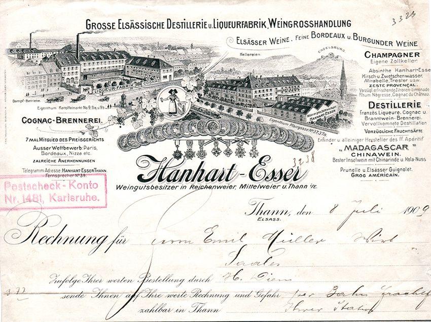 Facture 1909. Coll. Dacheux.