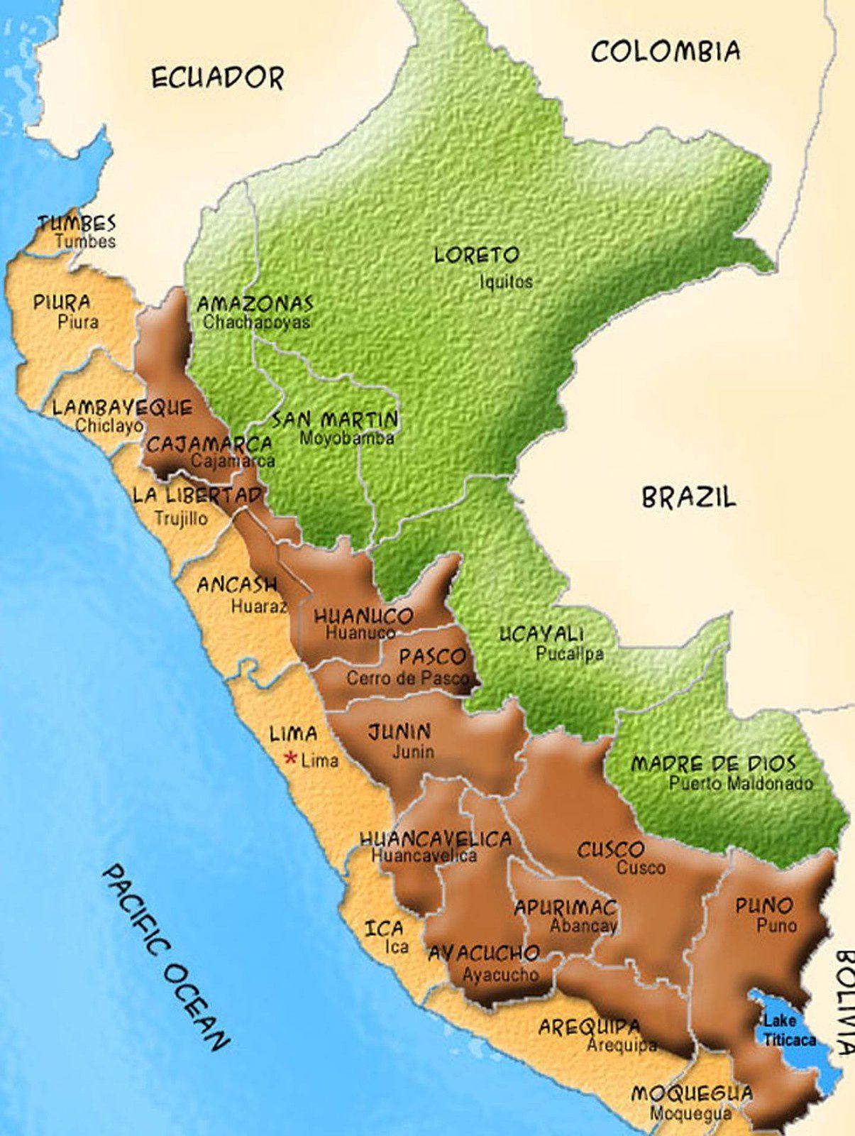 Les trois zones du Pérou.