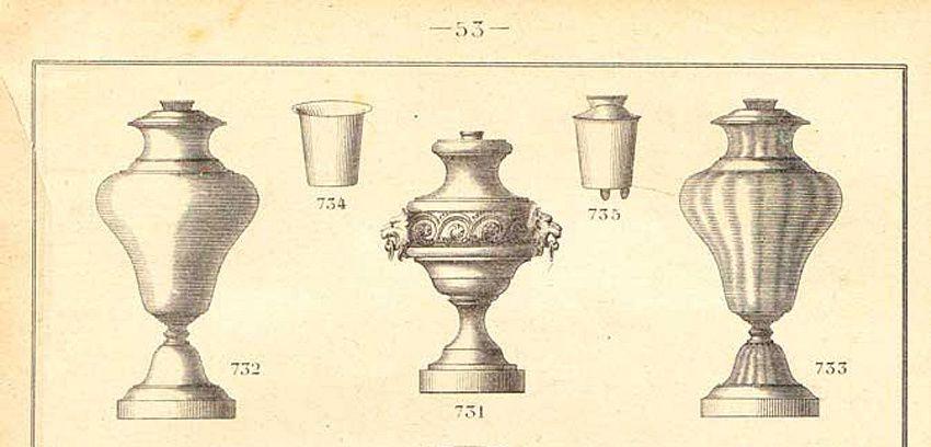 Petits réceptacles à glisser à l'intérieur des troncs. Catalogue Caylar & Bayard. Coll. Liebelin.
