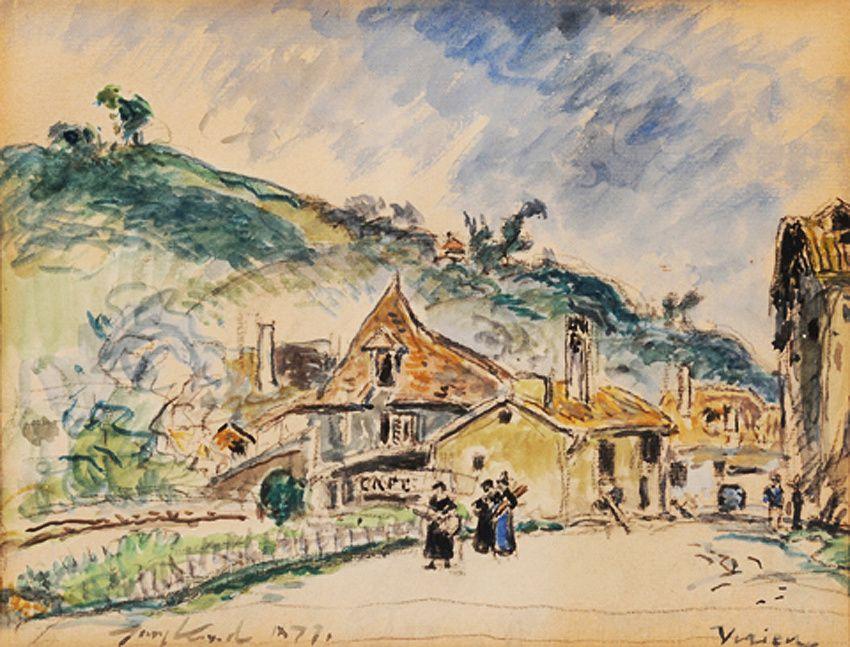 """La mairie de Virieu-sur-Bourbre par Jongkind. Source : association """"Dans les pas de Jongkind en Dauphiné""""."""