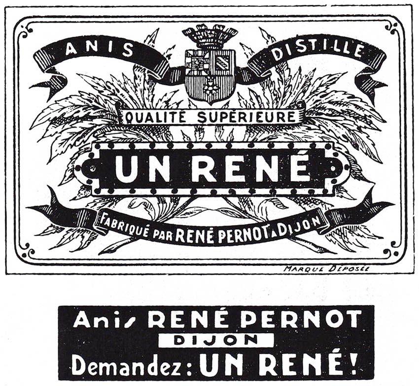 Marque déposée le 23 mai 1932 au greffe du tribunal de commerce de Dijon par la société à responsabilité limitée Établissements René Pernot. Coll. Delahaye.