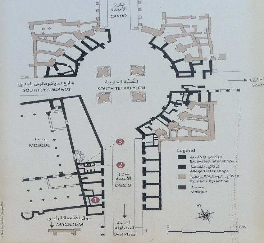 Plan du Tétrapylon et du Cardo. Ph. Delahaye.