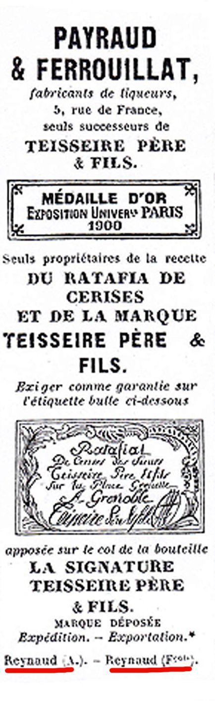 Annuaire du commerce de Grenoble, 1903. Reynaud Alexis et Reynaud François apparaissent en petit sous la marque Teisseire que François finira par racheter. Photo Delahaye.