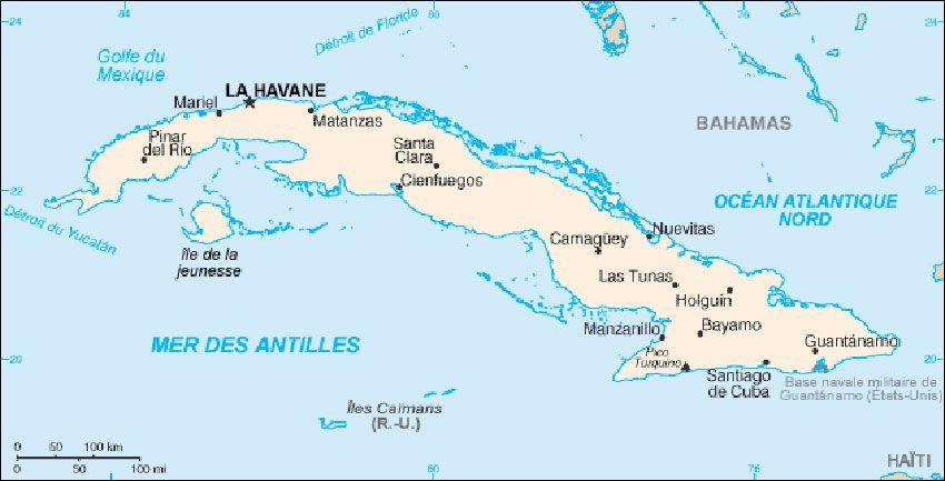 Carte de Cuba. Santiago est située près de la base militaire américaine de Guantanamo.