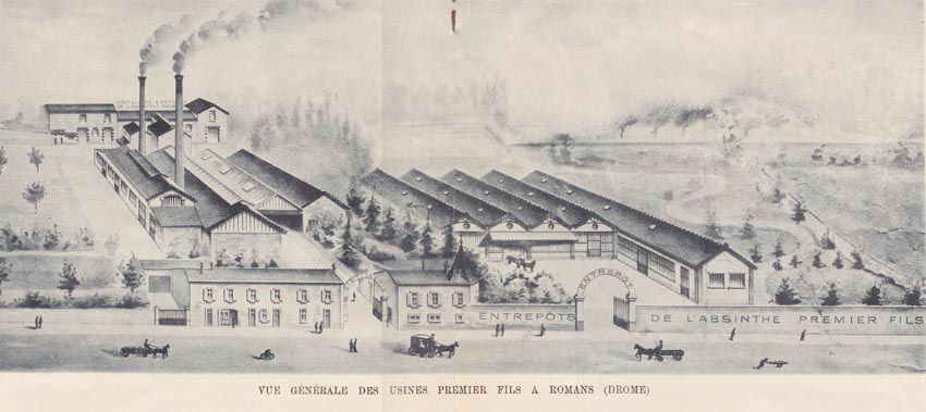 Vue générale de la distillerie Premier fils. Catalogue Turgan. Coll. Delahaye.