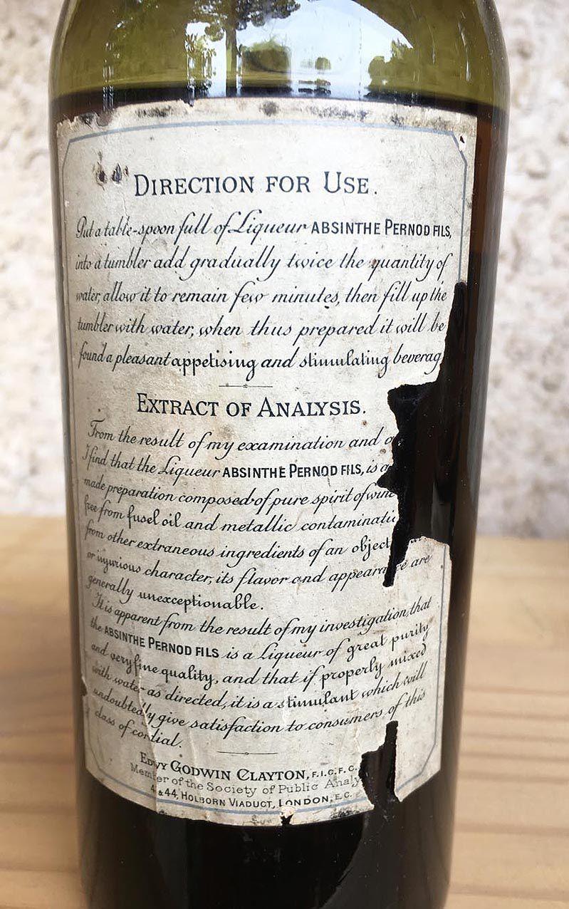 Contre-étiquette correspondant exactement à la description faite dans le petit dépliant. Coll. Roussel.