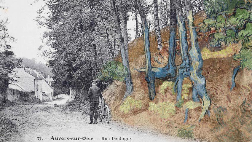 """Montage réalisé avec la carte postale """"rue Daubigny, Auvers-sur-Oise"""" dans laquelle le tableau """"Racines"""" (1890) de Van Gogh a été reconnu, 1900-1910. (Arthénon / Laurent Bourcellier)."""