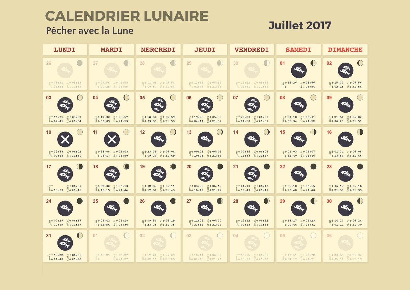 Calendrier lunaire de juillet 2017