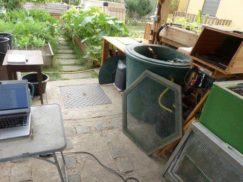 L'installation salmoponique est le cœur du jardin et approvisionne en eau riche en nutriments des carrés potagers pour toutes les sortes de légumes.