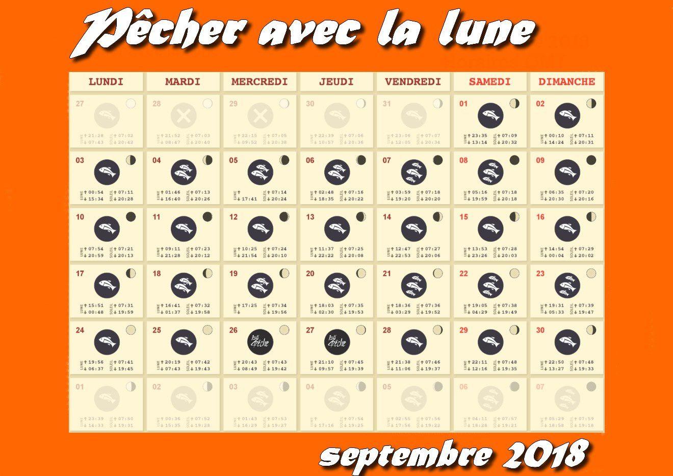 Calendrier lunaire septembre 2018.
