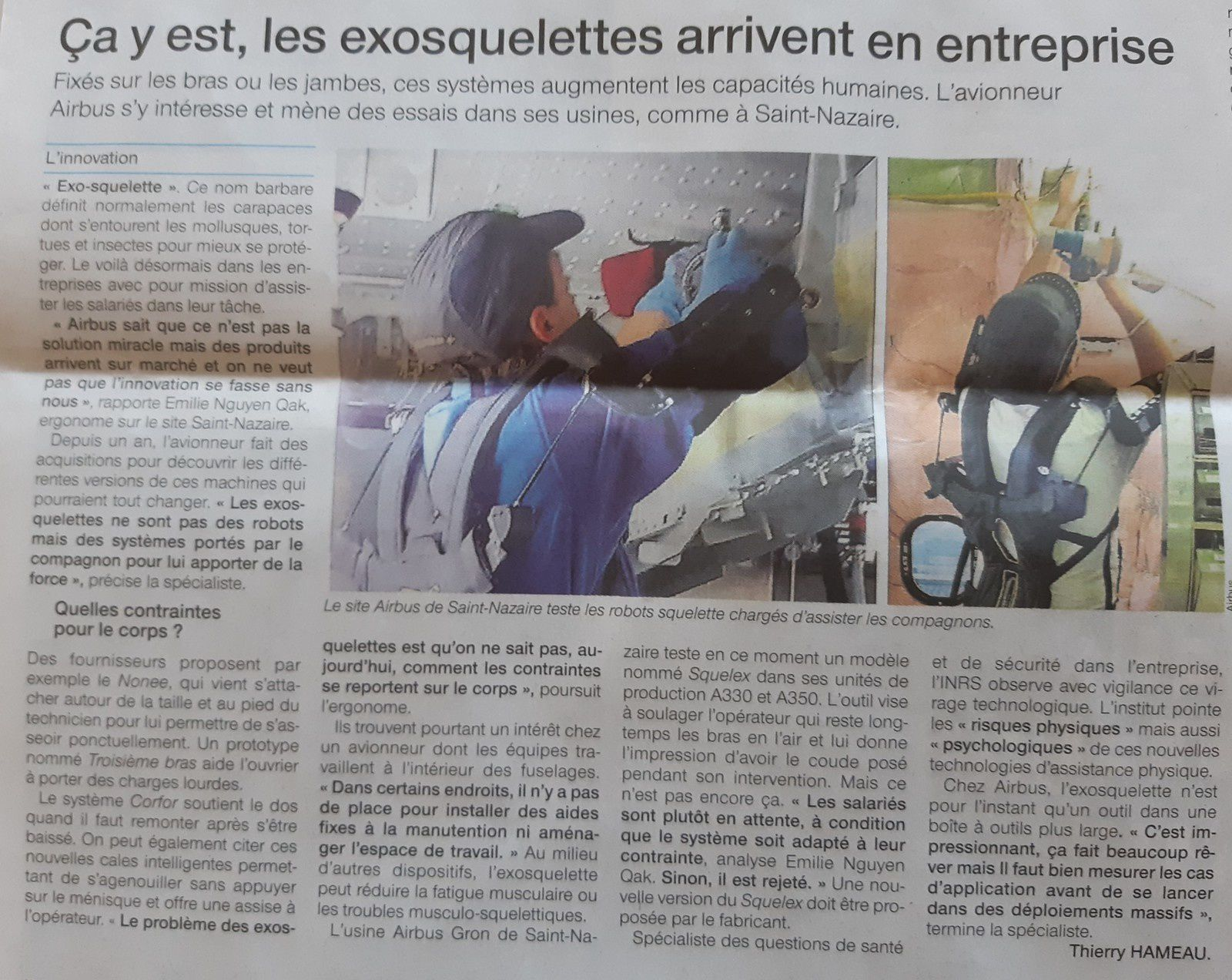 artcile Ouest France 2018 06 25 - exosquelettes