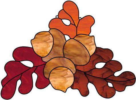 Dessin pour vitraux - Feuilles de chênes et glands