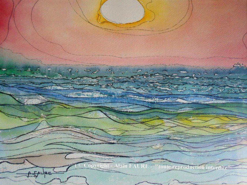 SOLEIL BLANC  Aquarelle : 50 x 35..........120 €  - Quand j'étais gamin le soleil était jaune du matin au soir, maintenant c'est juste à la première ou à la dernière heure de la journée. Beaucoup d'observateurs du monde entier ont constaté que le soleil a augmenté sa  luminosité au point d'être aveuglant aux heures des levers et couchers de soleil et ce contrairement aux années précédentes…Pourtant, les scientifiques et les médias restent muets sur le sujet...Vous avez dit bizarre ?