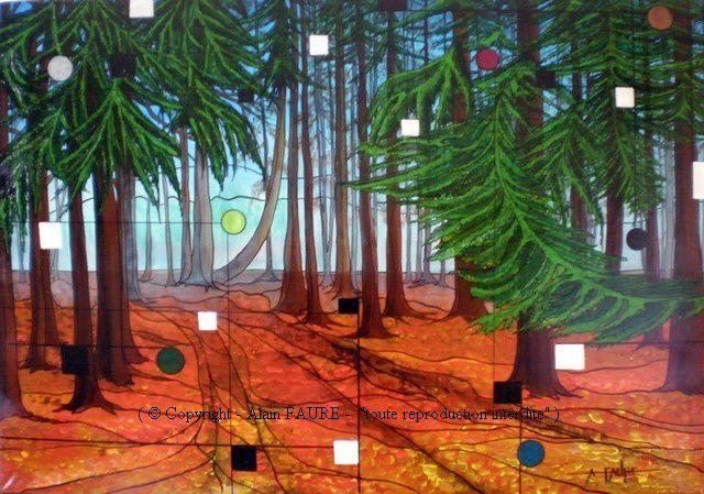 FORET MORVANDELLE Acrylique sur Toile: 102 x 71 cm........ (collection privée) Le Morvan possède un patrimoine forestier inestimable aux essences variées. Plutôt que de forêt, les Morvandiaux vous parleront de bois. En effet, les grandes étendues boisées sont souvent entrecoupées de routes, chemins, clairières, cultures ou prairies. Vous ne pouvez pas vous y perdre. Certains jours d'hiver il fait bon venir se ressourcer au milieu des douglas et autres épicéas qui se partagent le massif avec les feuillus.