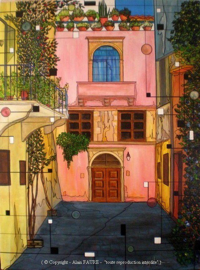 ATMOSPHERE BYZANTINE Acrylique sur Toile: 80 x 60 cm...........1400 € -  Foulant les pavés de plusieurs civilisations nous contemplons le centre historique de la ville crétoise. Dans cette rue pittoresque qui conduit directement au port vénitien, chaque maison semble nous offrir un message en étalant sa physionomie architecturale pleine de couleurs et de formes. Ces vieux quartiers dont l'influence turque est omniprésente nous confirment combien la ville est parvenue à marier de façon unique le passé avec le présent.