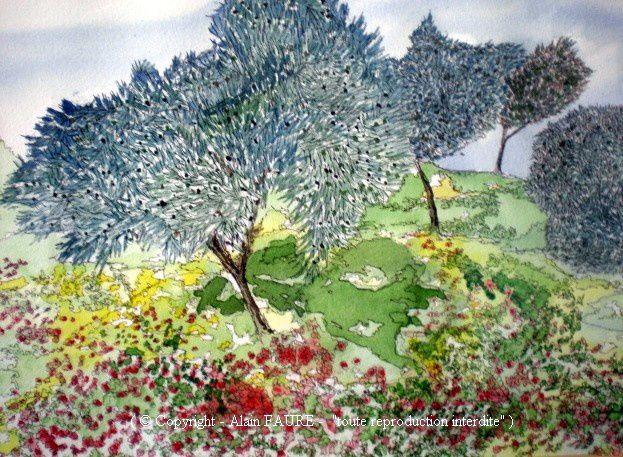 OLIVIERS SUR OLLIOULES Aquarelle : 48 X 39 (oeuvre vendue) Ollioules est l'origine du mot olivier et cet arbre est repris dans les armoiries de la commune. Comment ne pas se laisser tenter par une balade au travers de ce symbole de paix, de force et d'éternité. Car l'olivier est un arbre de lumière et ses couleurs sont inspiratrices.