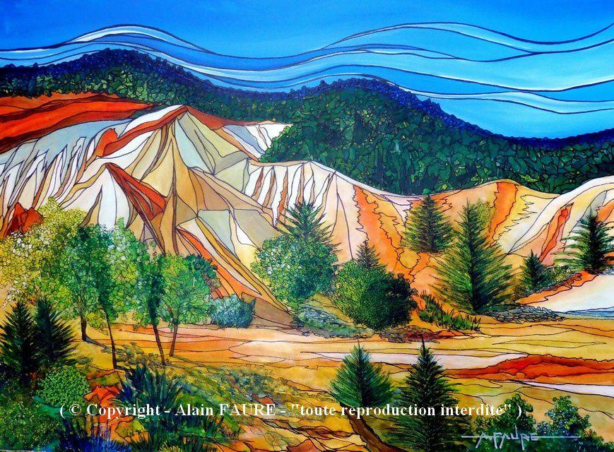 LES OCRES DE RUSTREL Acrylique sur Toile : 73 x 54 ..........Oeuvre vendue . C'est un décor de far west planté là au beau milieu du Luberon, mais avant de devenir un site prisé de tous les amoureux de la nature et des touristes, il a été du 17ème au 20ème siècle le terrain d'exploitation de l'industrie du fer puis de l'ocre. Ce Colorado Provençal n'est pas avare de couleurs car on en recense officiellement 24 qui vont du gris au vert en passant par le jaune et le rouge. De très belles émotions garanties pour cette randonnée.