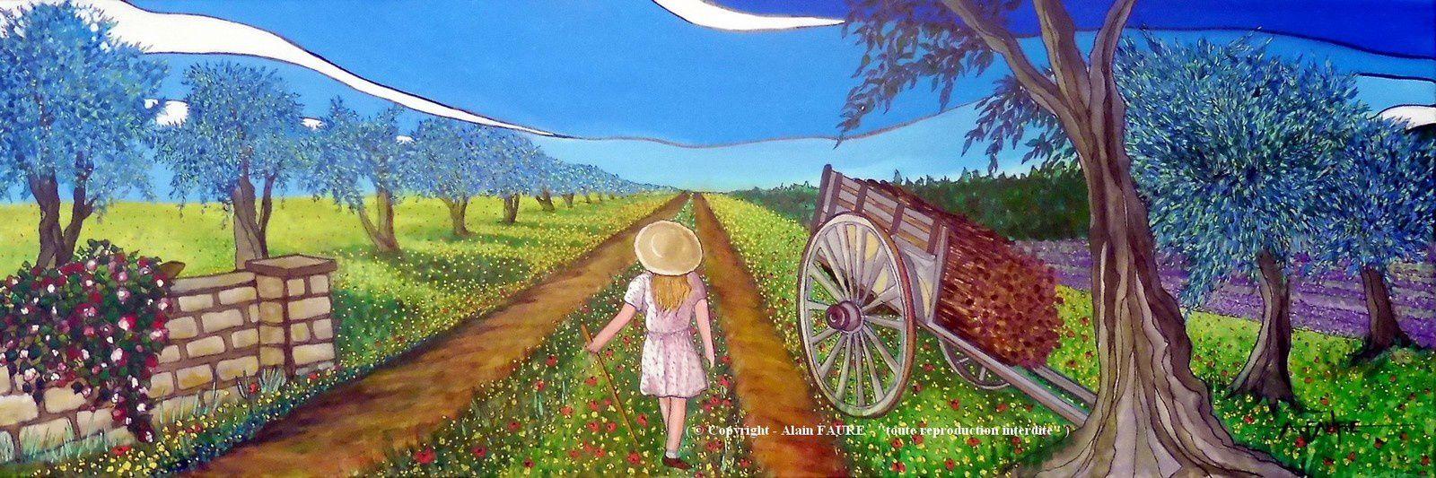 L'ECOLE BUISSONNIERE Acrylique sur Toile : 120 x 40.........1250 € .  C'est la fin du printemps et ce matin le bus scolaire n'est pas passé. Non loin du mas de ses parents, la petite Fanette a décidé de partir en promenade sur le grand chemin bordé d'oliviers, là au beau milieu des fleurs des champs. Et dire qu'au 17ème siècle, certains auteurs affirmaient que l'école était buissonnière lorsqu'on la fréquentait si peu, que les ronces et les buissons y naissaient.
