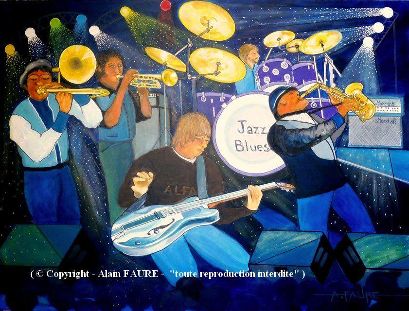 JAZZ BLUES Acrylique sur Toile : 80 x 60 ...........975 € - Si le blues est comme bon nombre de musiciens l'affirment à l'origine du jazz, le jazz blues repose sur une base de 12 mesures standards…il s'agit d'une grille emblématique devenue par sa popularité, un des fondements essentiels de la musique populaire anglo-saxonne. Johnny Cash, Elvis Presley, les Beatles, Charles Wright, Little Richard's  ou encore Mungo Jerry se sont inscrits dans cette mouvance encore appréciée des connaisseurs !