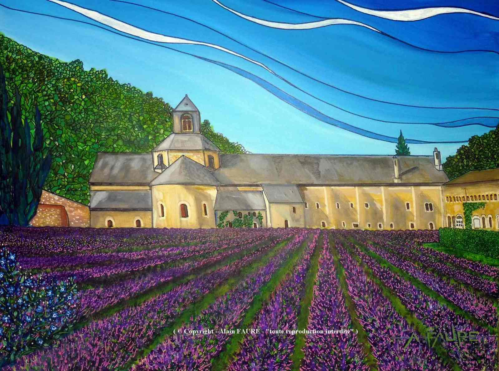 NOTRE DAME DE SENANQUE Acrylique sur Toile : 61 x 46 cm.....700 € -  C'est une abbaye enserrée depuis le 12ème siècle dans le creux d'un vallon provençal tout près de la commune de Gordes classée parmi les plus beaux villages de France. Quelques moines continuent de vivre, prier et travailler dans ce lieu de paix et de beauté. Son architecture cistercienne se situe dans la lignée des autres édifices comparables comme ceux de Thoronet, Silvacane et Aiguebelle.
