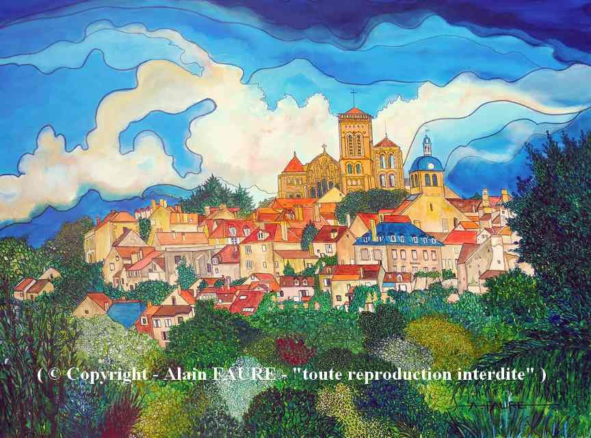 VEZELAY      Peinture Acrylique sur Toile : 80 x 60 cm.....975 € -  Point de départ du pèlerinage de St Jacques de Compostelle, le site et la basilique de Vézelay sont depuis 1979 inscrits au patrimoine mondial de l'UNESCO. C'est un emplacement historique et haut lieu de spiritualité qui inspire depuis des siècles, des bâtisseurs, écrivains et autres artistes. C'est au sommet de la Colline Eternelle que rayonne l'un des plus beaux villages de France.