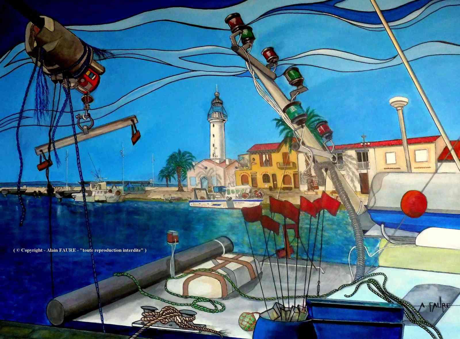 LE GRAU DU ROI                Peinture Acrylique sur Toile : 100 x 73 cm ..... 1450 € - Au milieu des plages sablonneuses, des marais salants et des étangs côtiers peuplés de flamants, la ville du Grau-du-Roi encerclée par les eaux méditerranéennes constitue une escapade pittoresque en Camargue. Les visiteurs affluent sur le port de pêche bordé de palmiers, où les cafés et restaurants font face à la mer. Le port de pêche du Grau du Roi est le 2ème port de pêche de Méditerranée française.