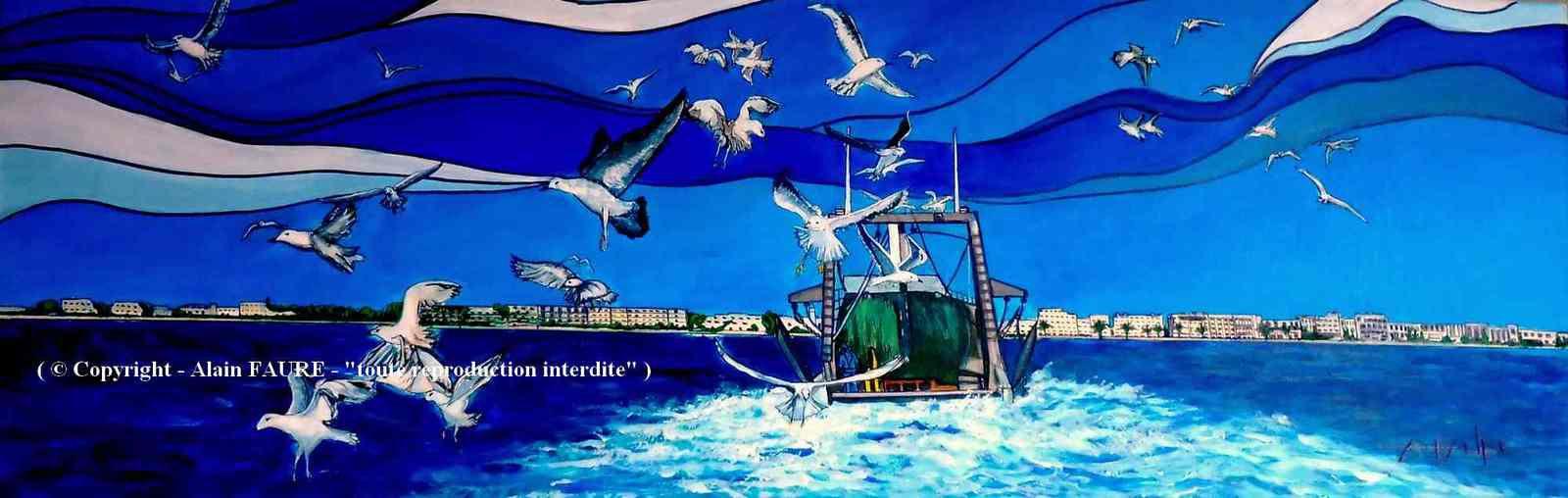 RETOUR AU PORT    Peinture Acrylique sur Toile : 120 x 40 cm ...1320 € - Les pêcheurs ont remonté leur chalut de fond et après avoir sélectionné leur prise de poissons les plus variés comme les daurades, maquereaux, merlans, turbots et autres baudroies, ils rentrent tranquillement au port. Dans le sillage des chalutiers suivent de nombreux oiseaux marins comme les goélands, mouettes et puffins…c'est l'heure du dernier festin avant que n'arrive la nuit.