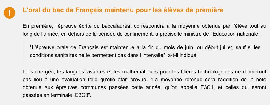 Bac de français 2020