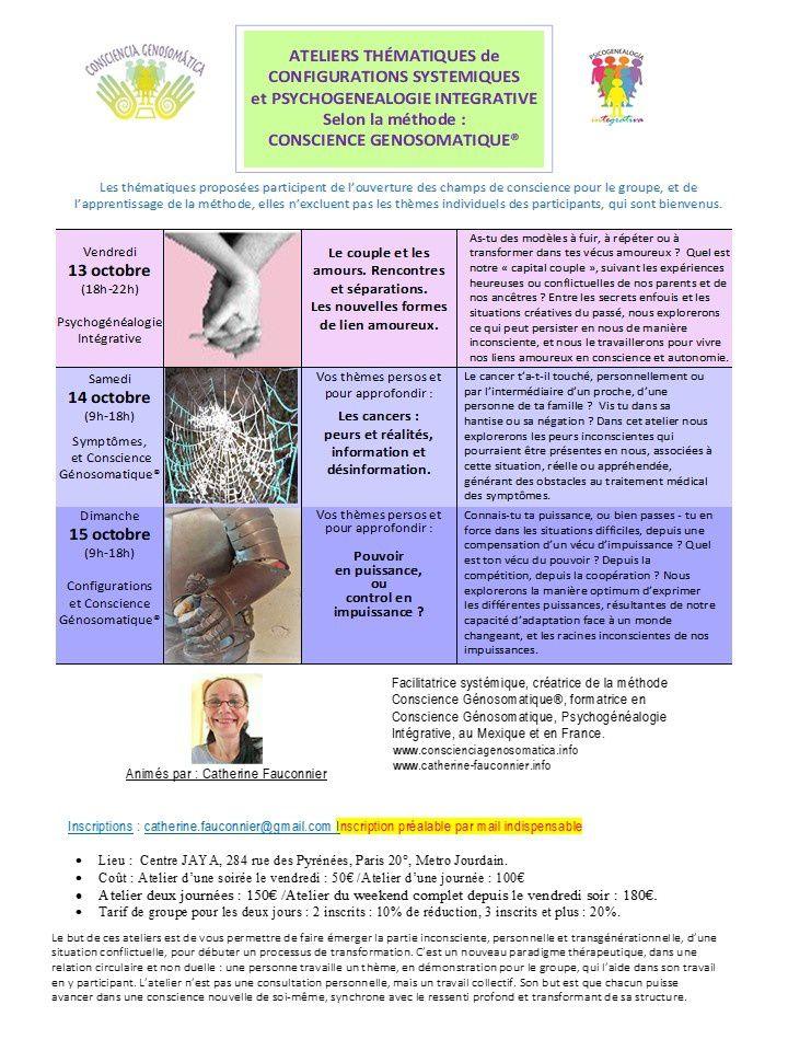 Pour mes amis de Paris, ateliers 13, 14, 15 octobre avec les nouveaux thèmes: