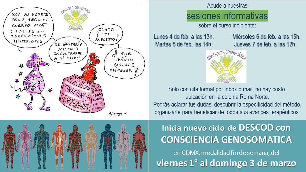 Acude a nuestras sesiones informativas sobre el curso incipiente de Descodificación con Consciencia Genosomática
