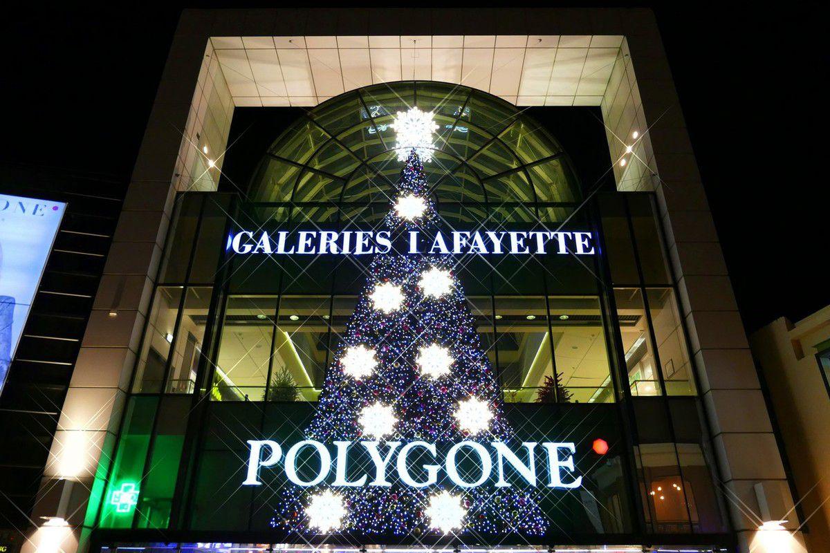Décorations de fête au Polygone de Montpellier (décembre 2016, images personnelles)
