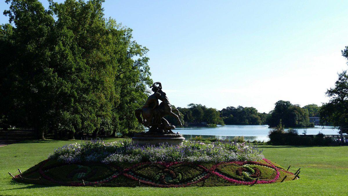 Vue imprenable sur les pelouses à l'anglaise et sur le lac du Parc de la tête d'Or (août 2018 et août 2017, image personnelle)