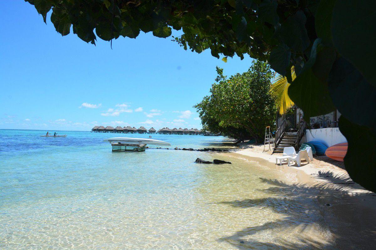 Petite plage de sable blanc, lagon turquoise, bain...