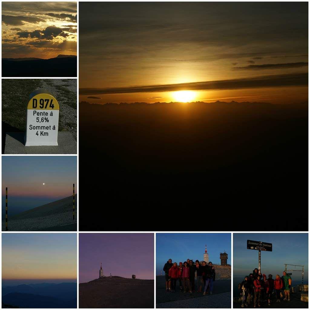 Vendredi 09 juin, avec quelques amis, nous avons quitté Istres vers 19h00 direction le Géant  de Provence pour assister au couché du soleil depuis le village de Bédoin. Puis après un sympathique et convivial pique-nique partagé, nous avons attaqué à la frontale l'ascension (10km) jusqu'à notre lieu de bivouac. Nous avons dormi à peine 2h1/2 puisqu'il nous a fallu nous  réveiller  vers 4h30 pour effectuer les 5 derniers km restant pour atteindre le sommet du Mont Ventoux et arriver à tant pour assister au levé du roi soleil la récompenser de nos efforts.