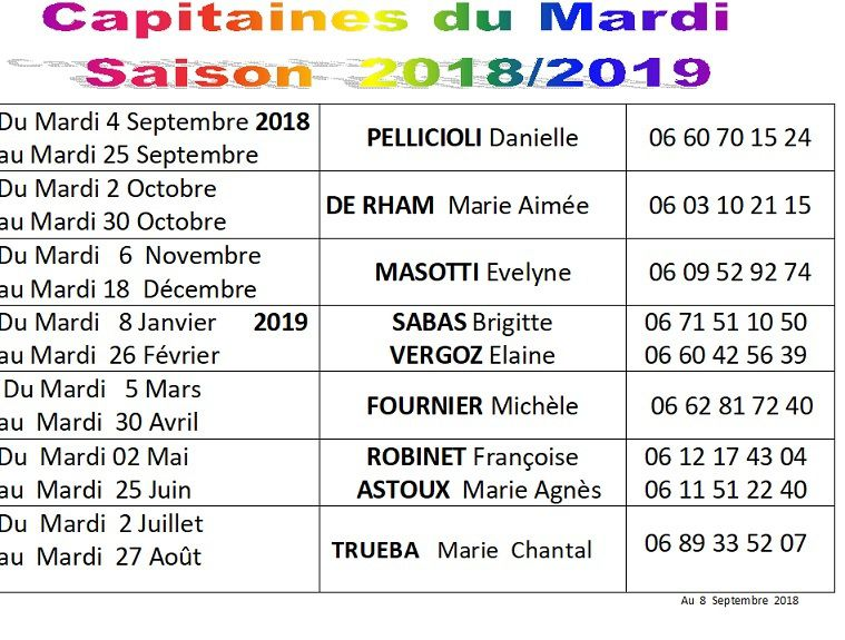 A1-Planning des Capitaines du Ladies Day's