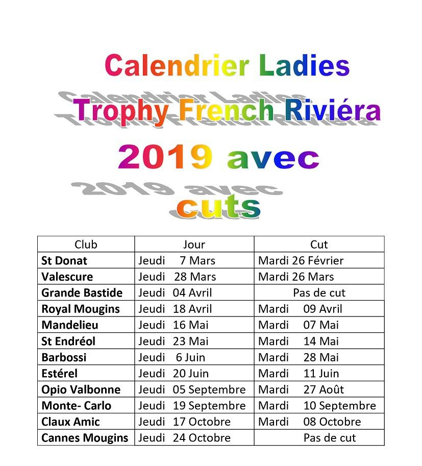 A-Calendrier 2020 du French Ladies  Riviéra avec date des cuts