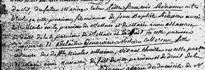 Pierre François LEVASSEUR  et Geneviève Victoire Adélaide COTTEREAUX