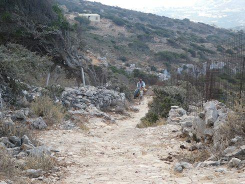 Photos vers Aegiali  mouillage de l'île Kaloteri  la rade d'Aegiali  monastere Thelogos  le sentier qui va au monastere  Aegiali ( 2 )